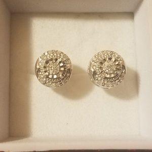 925 silver vintage style earrings w/ diamonds